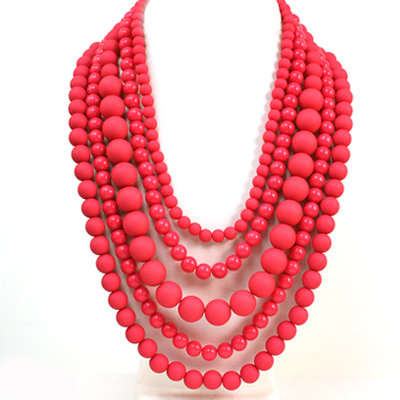 Multi Strand Hot Pink Pearl Necklace