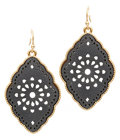 Gold and Black Leatherette Filigree Earrings