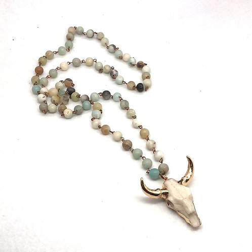 Cow Skull Beaded Long Necklace
