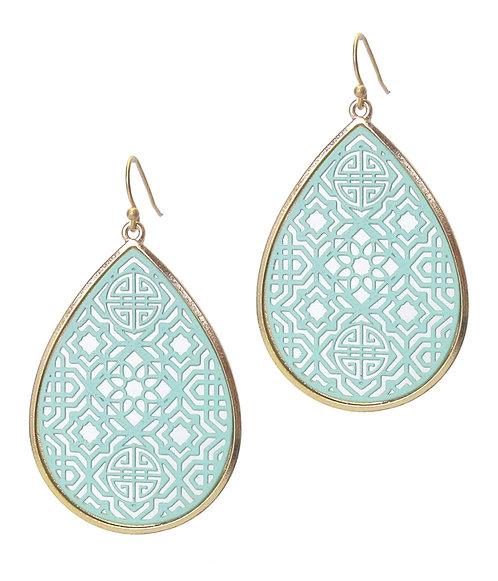 Turquoise Metal Filigree Earrings