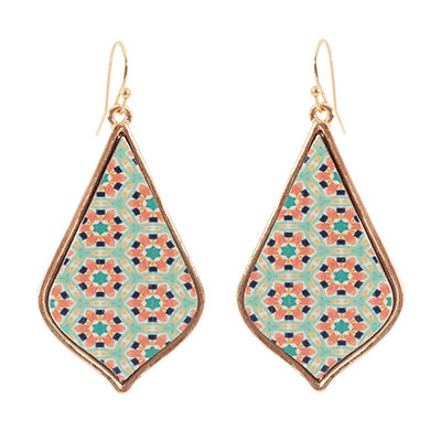 Retro Pattern Wooden and Gold Teardrop Earrings