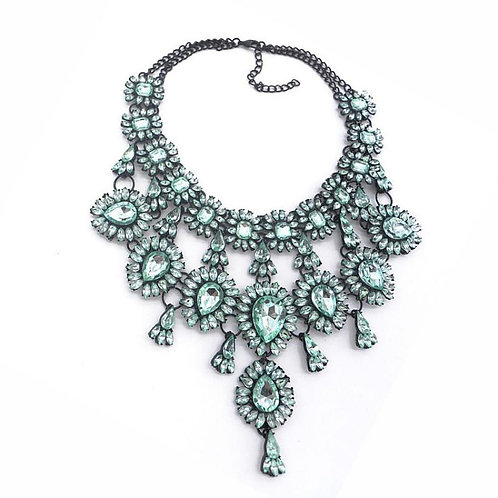 BLING Light Green And Black Rhinestone Statement Necklace