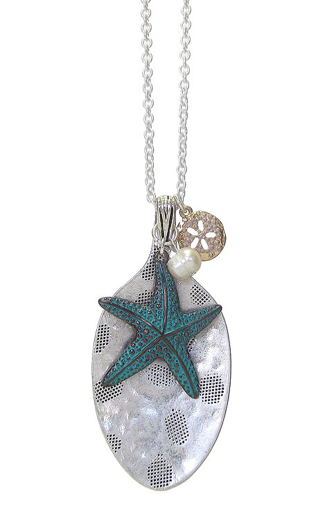 Hammered Spoon and Starfish Long Necklace