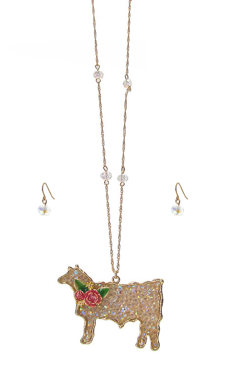 Crystal Animal Long Necklace Set