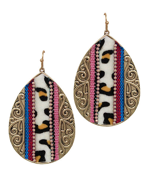 Serape and Animal Print Gold Teardrop Earrings