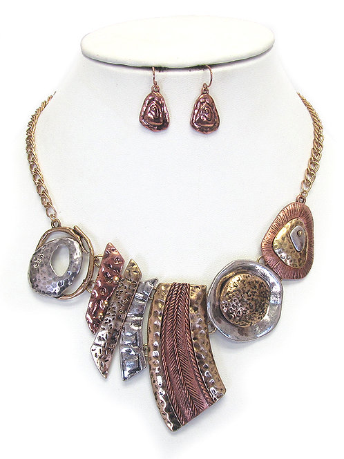 Multi Color and Texture Necklace Set