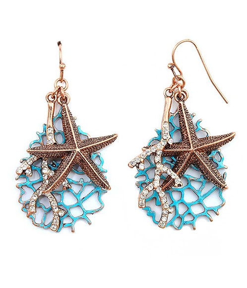 Copper & Turquoise Starfish Coral Earrings