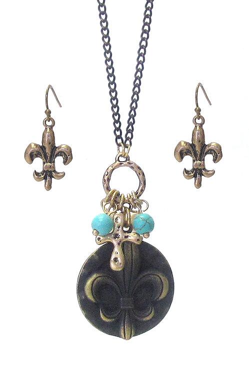 Bronze Fleur de Lis Necklace Set