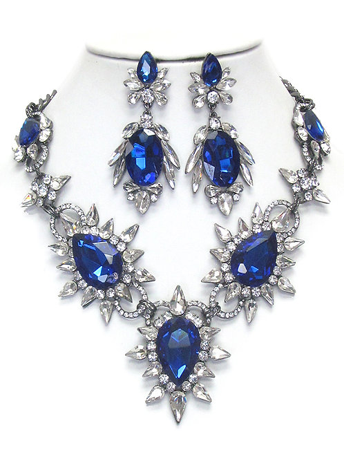 BLING Blue & Clear Rhinestone Necklace