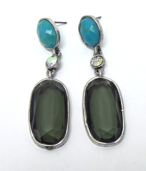 Stone and Crystal Drop Earrings