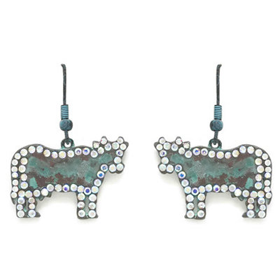 Hammered Cow Earrings With AB Stones