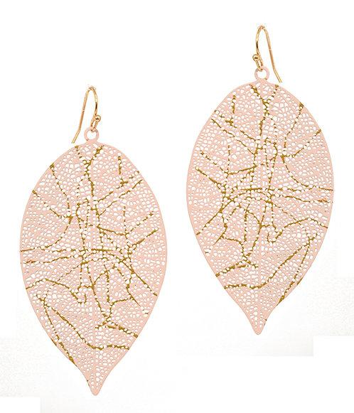 Light Pink Metal Filigree Leaf Earrings