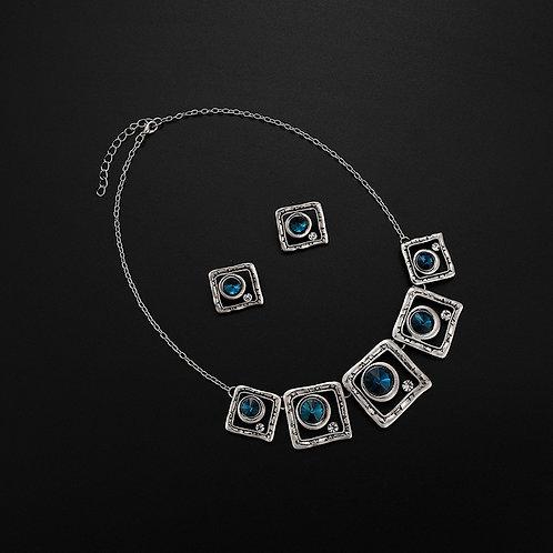 Blue Stone Square Necklace Set