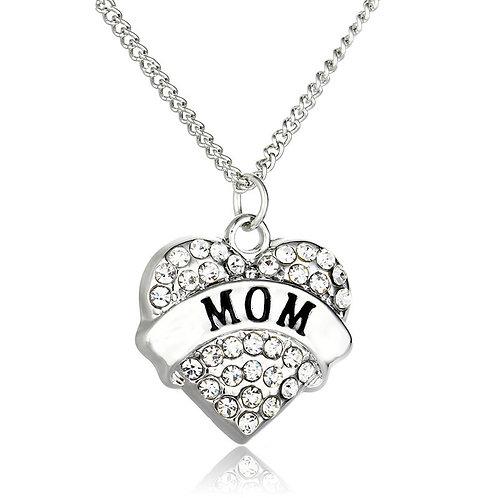 Rhinestone Heart MOM Necklace