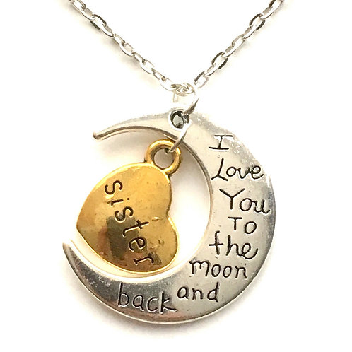 I Love You To The Moon And Back Sister Necklace