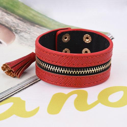 Faux Leather Red Zipper Bracelet