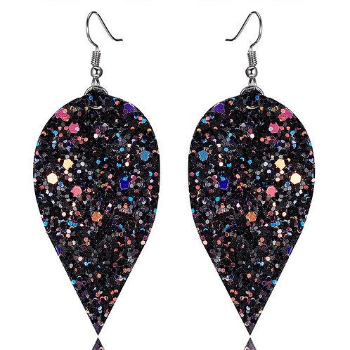 Faux Leather Glitter Tear Drop Earrings
