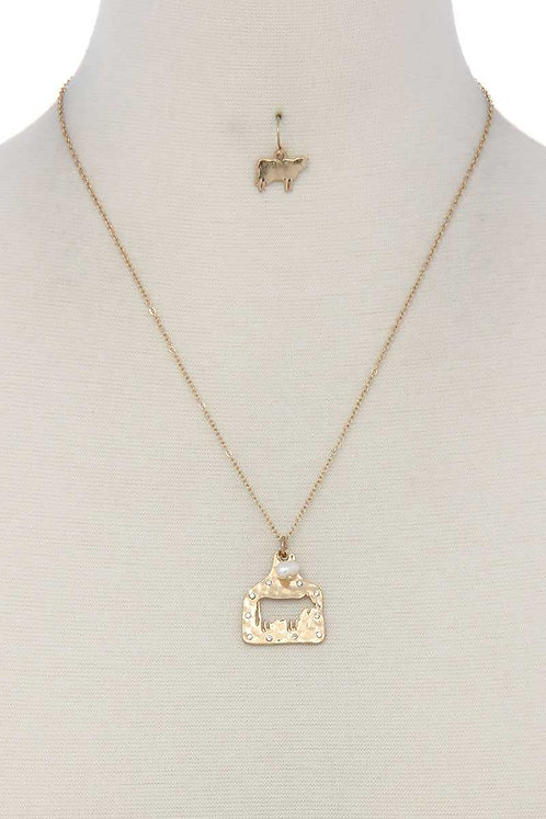 Rhinestone Cow Ear Tag Necklace Set