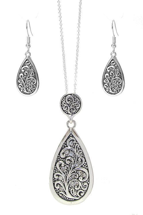 Silver Filigree Teardrop Necklace Set