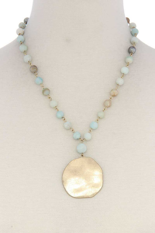Gold Medallion Beaded Necklace