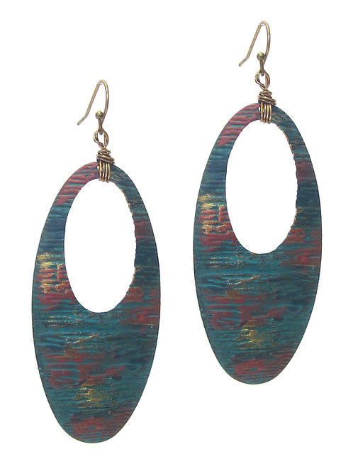 Oval Painted Texture Earrings
