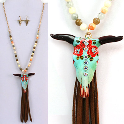 Cow Skull or Horse Beaded Long Fringe Necklace