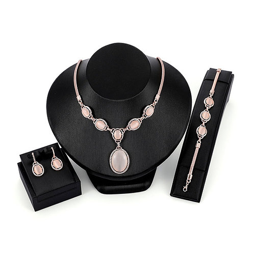Pink Gold 3 Piece NecklaceSet