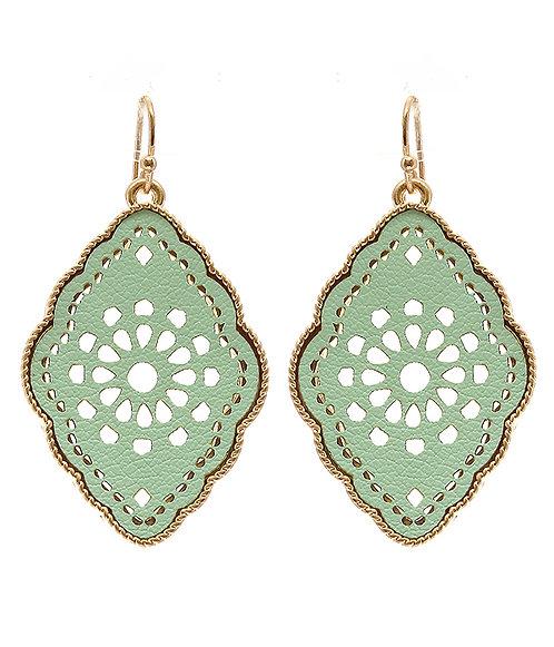 Mint Green Leatherette Filigree Earrings