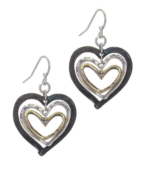 Turquoise Gold Silver Heart Earrings