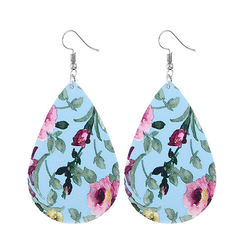 Blue Floral Print Leatherette Teardrop Earrings