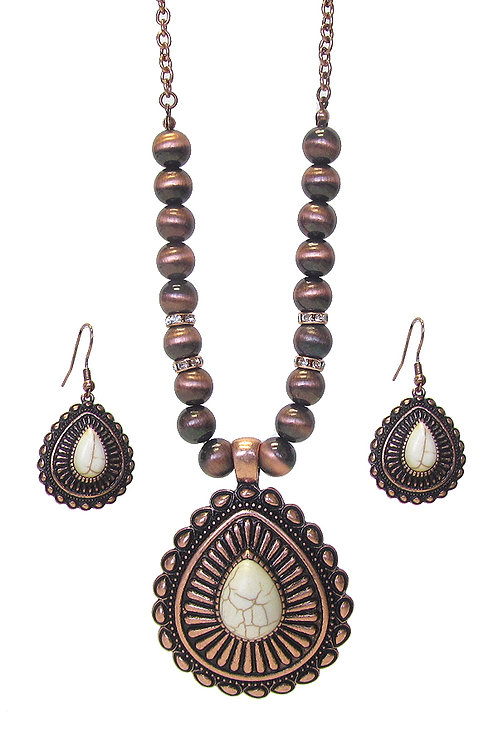 Copper Bronze Teardrop Necklace Set