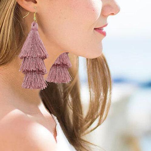 Dusty Rose Tassel  Earrings
