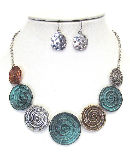Swirl Patina Necklace Set