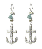 Silver and Turquoise Anchor Earrings