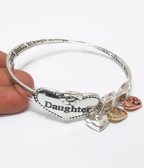 Daughter BangleWith Heart Charms