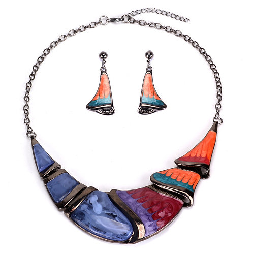 Hand Painted Enamel Necklace Set