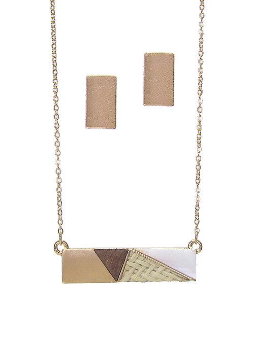 Wooden Shale Necklace Set