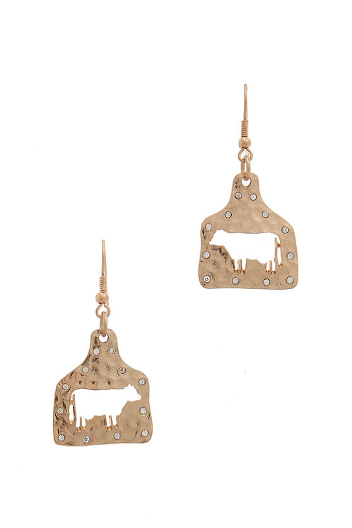 Hammered Cow Ear Tags Earrings With Rhinestones