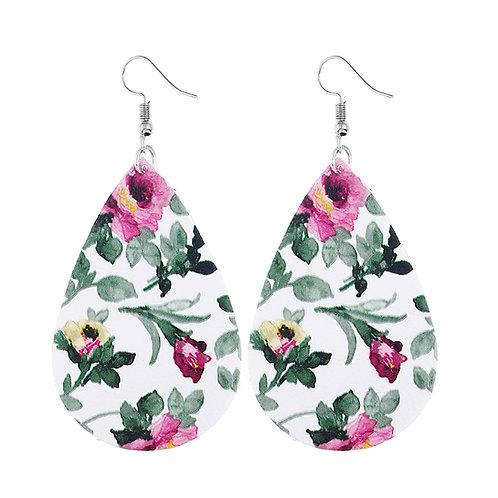 Floral Print Leatherette Teardrop Earrings