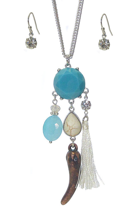 Turquoise  Tassell Necklace