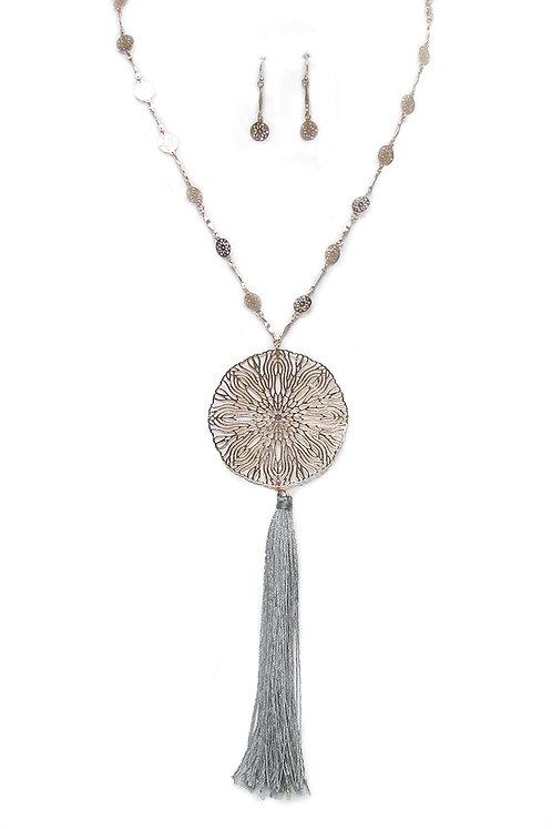 Gold Medallion Tassell Long Necklace Set