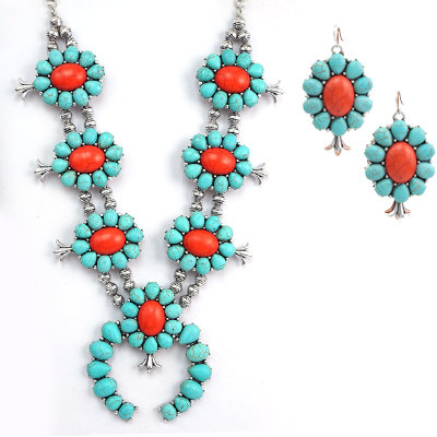 Beaded Red & Turquoise Squash Blossom Necklace