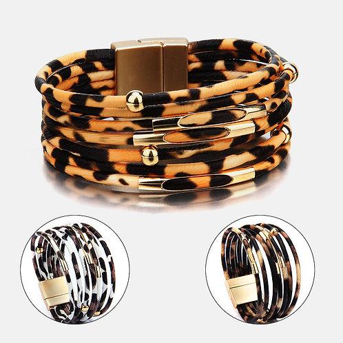 Multi Cord Animal Print Bracelet