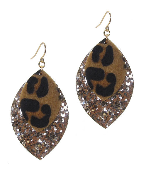 Animal Print and Gold Glitter Leatherette Earrings