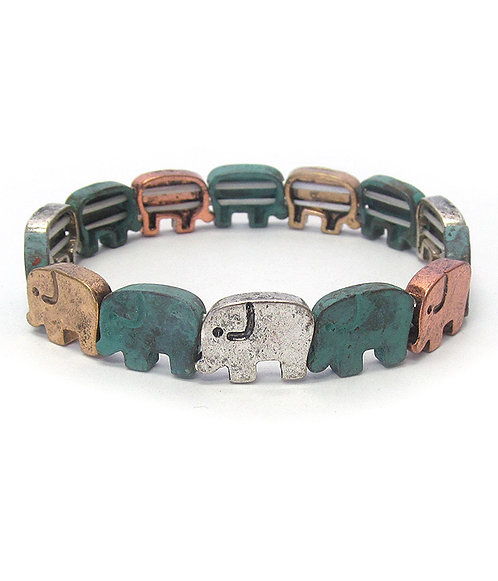 Flat Patina Elephant Bracelet