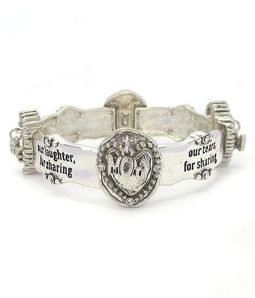 Silver Mom Stretch Bracelet