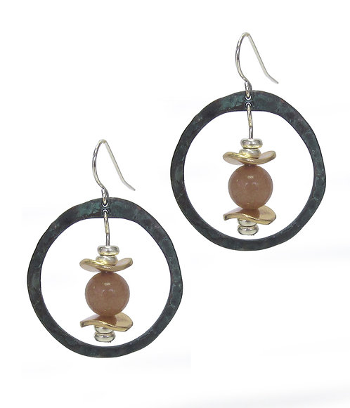 Hammered Patina and Stone Earrings
