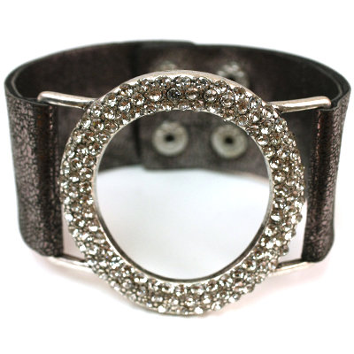 Rhinestone Bracelet With A Metallic Silver Leatherette Band