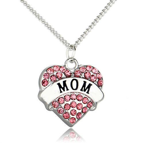 Pink Rhinestone Heart MOM Necklace