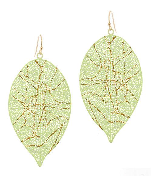 Mint Green Metal Filigree Leaf Earrings